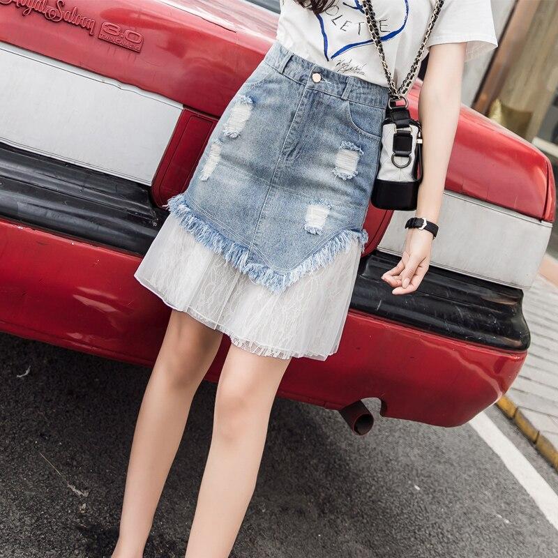 2019 summer women skirt pockets denim patchwork skirt lace elegant midi skirt tulle skirt jean skirt wrap white lace skirt