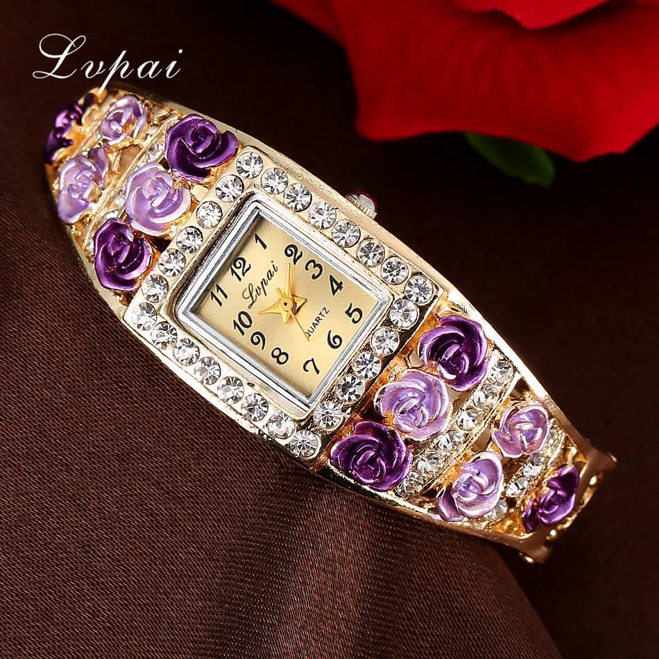 Lvpai 2018 New Watch Women Crystal Bracelet Flower Wristwatch Women Dress Clock Classic Gold Red Fashion Casual Jewelry Watch
