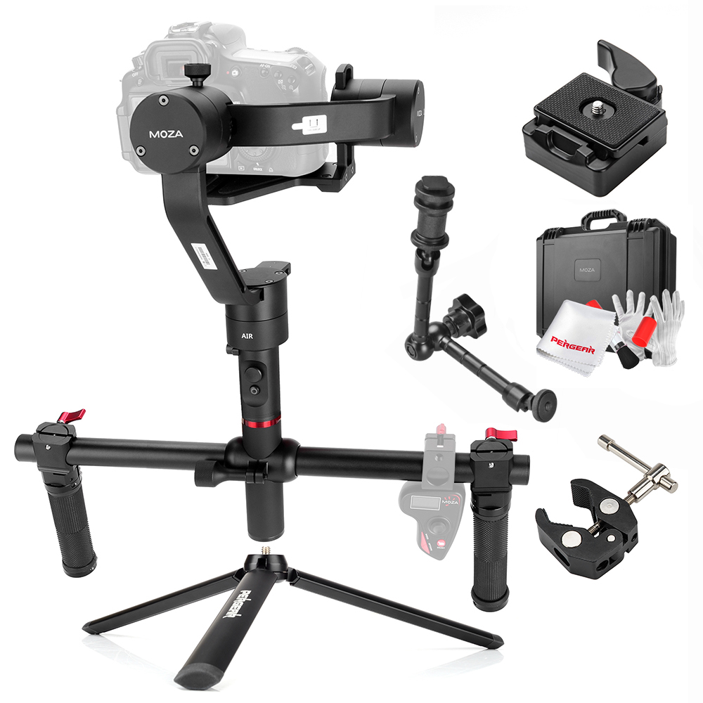 MOZA Air 3 Axis Handheld Gimbal Stabilizer with Magic Arm + Tripod + Pliers 360 Degree Unlimited Rotation for Sony A7 GH5 GH4 5D levett caesar prostate massager for 360 degree rotation g spot