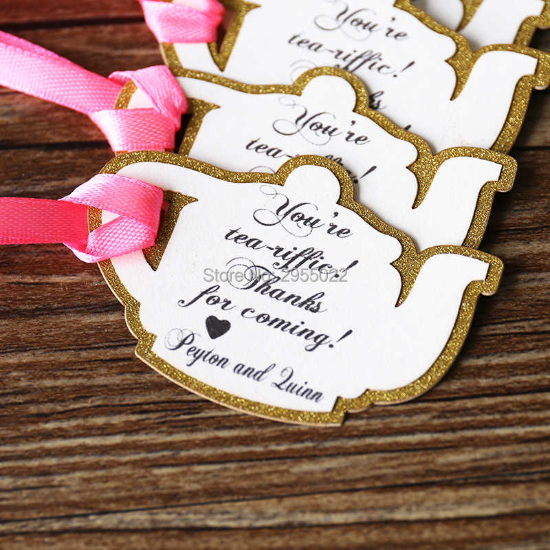 Tea Party Favor Tags,customized  teapot gift tags, glitter gold gift tags, laser cut wedding favor decor, baby shower favor tags