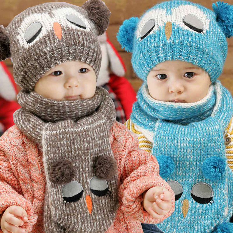 2016Winter Hats Scarf Baby Skullies   Beanies Kids Funny Knit Hats Shawl  Boys Girls Knitted Hats Child Muffler baby 6 36 months-in Hats   Caps from  Mother ... 76434ba2b30