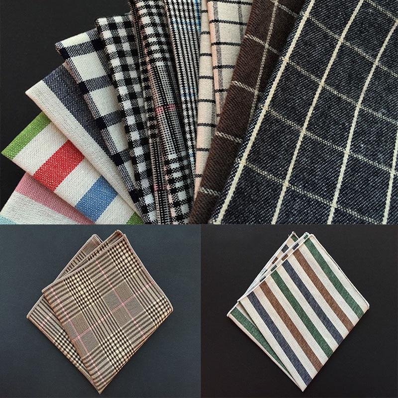 High Quality Fashion Plaid Hankerchief Cotton Men  Pocket Square Suit Banquet Pocket Towel Slim Clothing Accessories