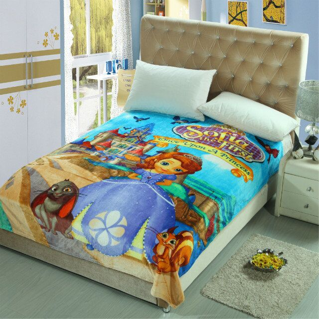 Cartoon Sofia Girl Printed Blankets Throw Bedding 150*200CM Size Baby Kids Childrens Bed Home Bedroom Decoration Flannel Blue