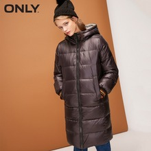 ONLY Women's Reversible Zip White Duck Long Hooded Down Jacket
