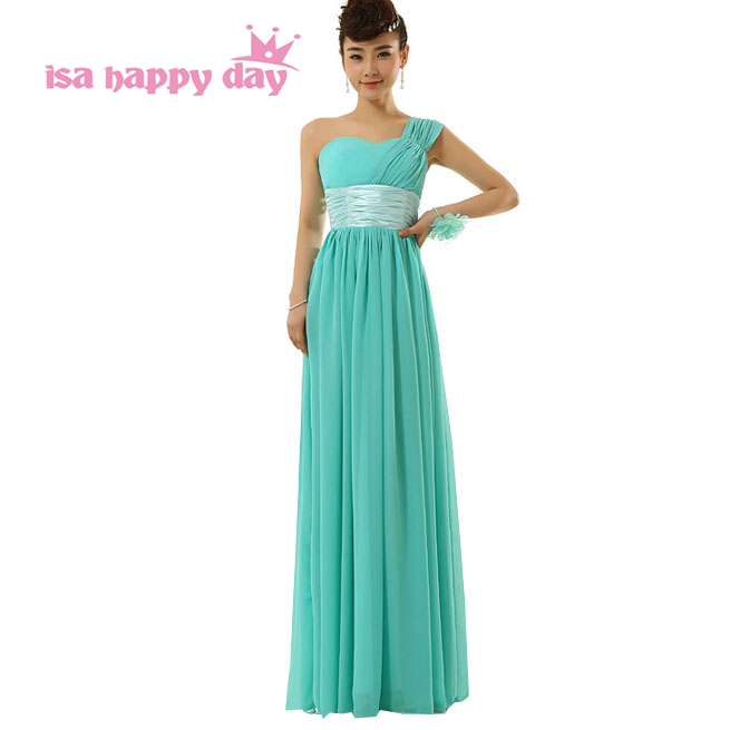 maid floor length long chiffon bridal modern turquoise green one shoulder   bridesmaid     dress   patterns   dresses   2019 H2696