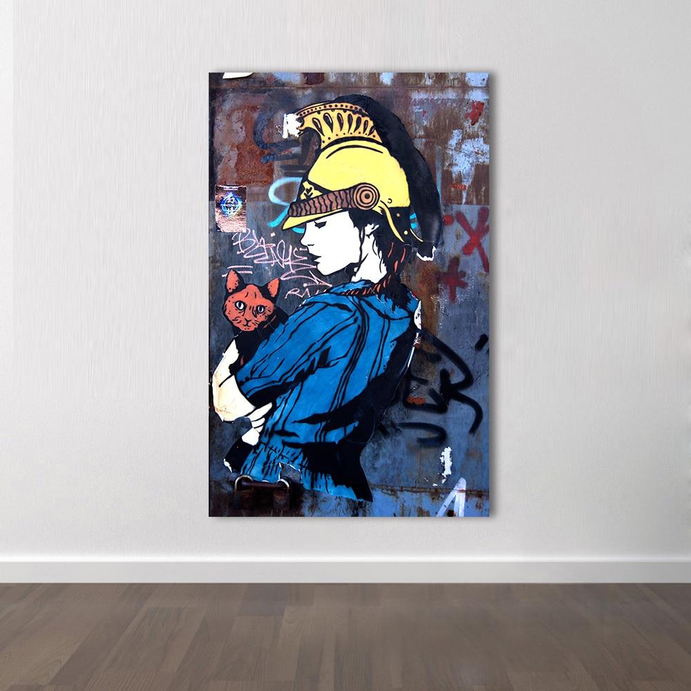 Grafitti art kopen - Hdartisan Figuur Schilderen Canvas Art Wall Pictures Voor Woonkamer Graffiti Meisje Met Kat Dragen Hoed Home