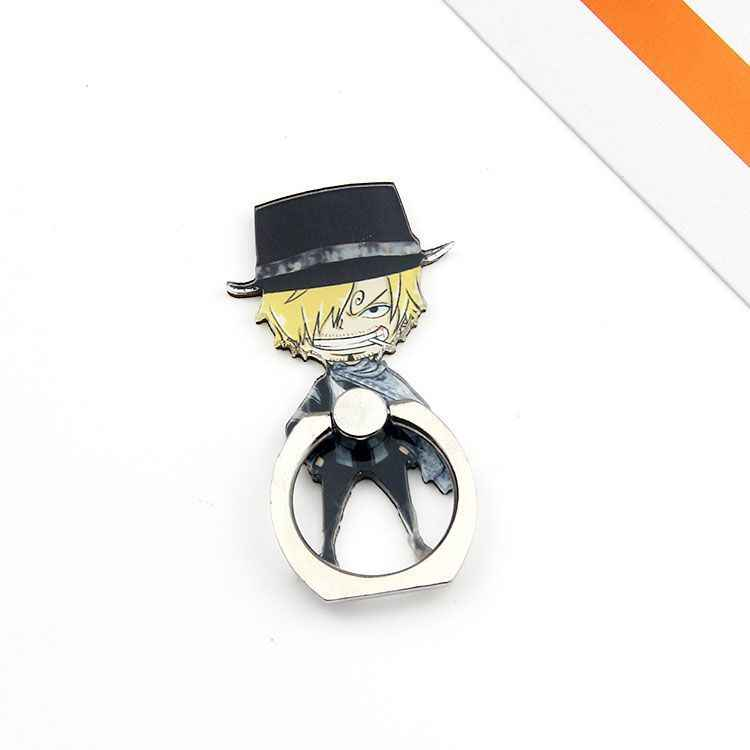 360 graus titular anime uma peça suporte luffy palha chapéu sanji telefone móvel smartphone metal dedo anel para iphone ipad