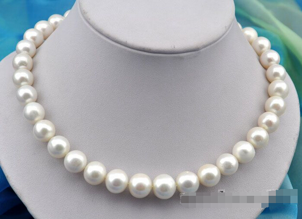"shipping17""13mm round white freshwater pearl necklace 925silver clasp"