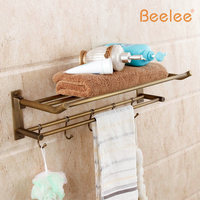 Beelee BL6203A Wholesale and Retail Antique Brass Bathroom Towel Rack Wall Mounted Folding Towel Rack with Hooks