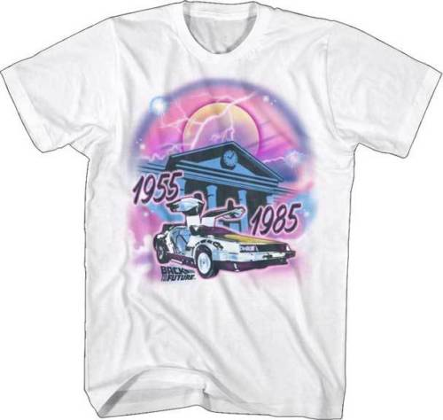 Back To The Future Movie 1955 - 1985 Airbrushed Adult T Shirt