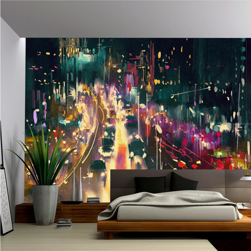 цены Custom 3D Wall Murals Scenery Beauty Wallpaper City Night View Backdrop Wall Murals Wallpaper Living Room Kitchen Wall Paper 3D