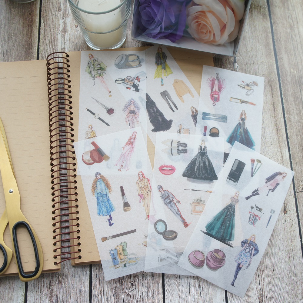 6 sheets fashion lady washi Paper sticker as Scrapbooking DIY gift packing Label Decoration Tag party