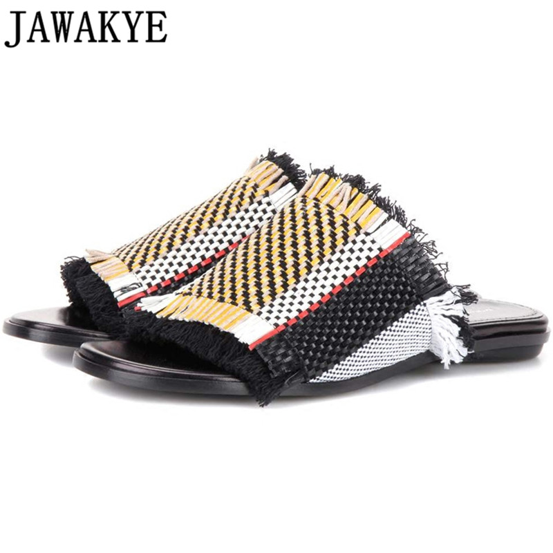 Genuine leather mixed color knitting fringe women slippers flat high heels women gladiator sandals hemp rope tassel summer shoes 2016 summer women flat platform slippers fashion hemp rope insole ladies genuine leather buckle sandals designer espadrilles