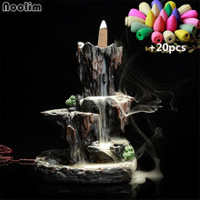 Creative Incense Burner Rockery Blackflow Incense Holder Home Decorations Waterfall Censer Burner+20Pcs Free Incense Cones(China)