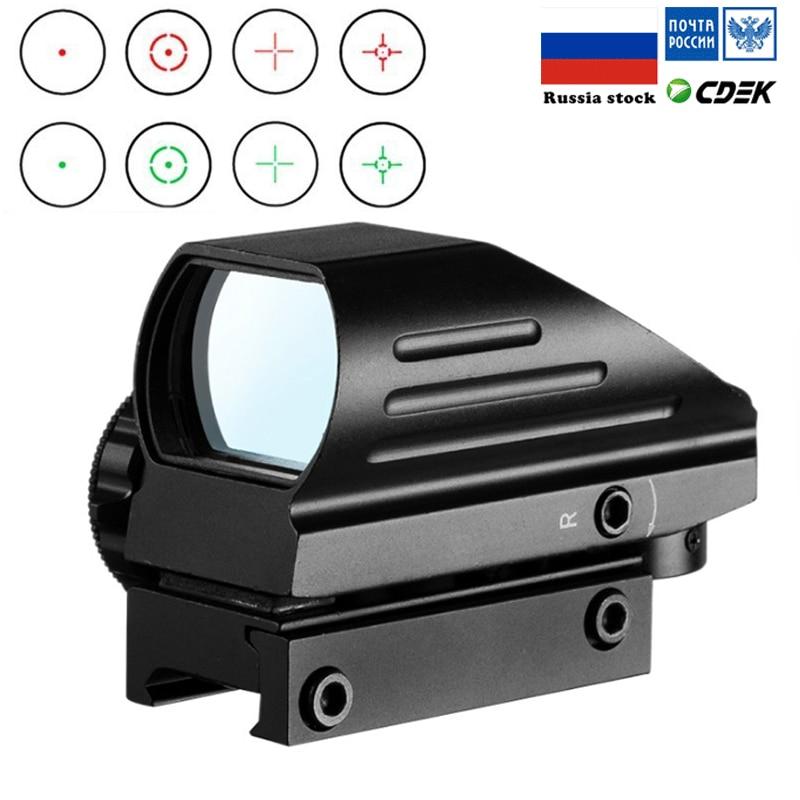 ยุทธวิธี Reflex สีแดงสีเขียวเลเซอร์ 4 Reticle Holographic คาดการณ์ Dot Sight ขอบเขต Airgun ล่าสัตว์ 11 มม./20 มม. RAIL MOUNT AK