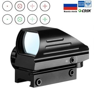 Image 1 - 전술 반사 적색 녹색 레이저 4 레티클 홀로그램 투영 도트 시야 범위 에어건 시력 사냥 11mm/20mm 레일 마운트 AK