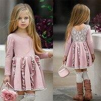 Vestidos de algodón para niños adorables para niñas, vestido de retazos de encaje con espalda para niñas, manga larga, volante de cintura alta, fiesta, 2-7 años