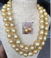 Великолепная 13 14 мм Южное море золото жемчужное ожерелье и серьги 38 дюймов
