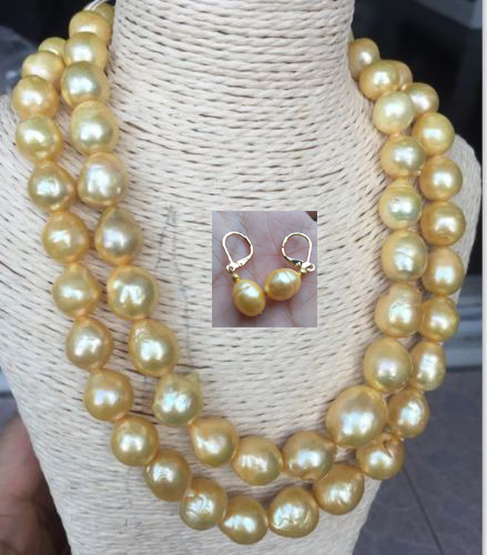 gorgeous 13-14mm south sea gold pearl necklace earring 38inch gorgeous 13-14mm south sea gold pearl necklace earring 38inch