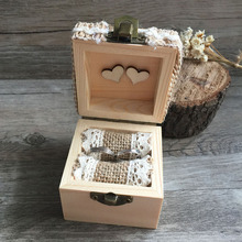 Hot Selling fashion Wooden Personalized Gift Rustic Wedding Ring Bearer Box Wood Custom Your Names and Date