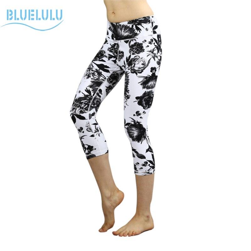 Prix pour Bluelulu 2017 Nouvelles Filles Femmes Élastique Floral Imprimé Yoga Pantalon Gym Capris Jogging Danse Leggings