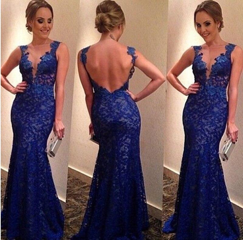 Vente chaude bleu Royal longue dentelle robes de soirée charmant col en v Sexy élégante robe formelle sirène robes de bal robe de soirée E75