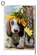 Personalized Garden Flag Double-Sided Polyester the DOG welcome you Decor Hanging Yard 12X18