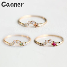 Canner Crystal Simple Zircon Rings Thin Gold Color Anti Allergies Jewelry Accessories Engagement For Women