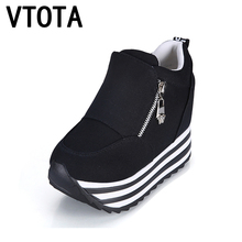 VTOTA Casual Shoes Fashion Height Increasing Platform Wedges Women's ShoesTrainers Student Canvas Single Shoes Size 35-39 Q80