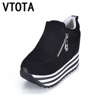 Spring Casual Shoes Fashion Height Increasing Platform Wedges Women S ShoesTrainers Student Canvas Single Shoes Size
