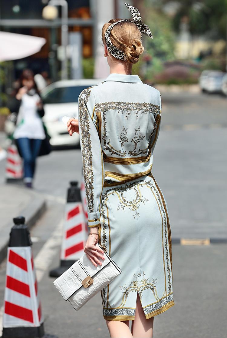 Designer Runway Suit Set Women's Sets Long Sleeve Shirt Tops + Print Skirt suit 2 Two piece set 6