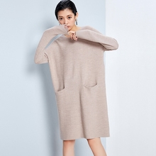 Women's High Quality Merino Wool Dress Simple Casual Long Sweater Dress Warm Wool Dress