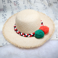 HOT 2016 summer paragraph high quality women beach vacation sunscreen fashion star wool ball tassels hand-woven straw hat sunhat