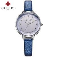 JULIUS Watches Women Fashion Watch 2016 New Elegant Dress Leather Strap Ultra Slim 8mm Japanese Quartz