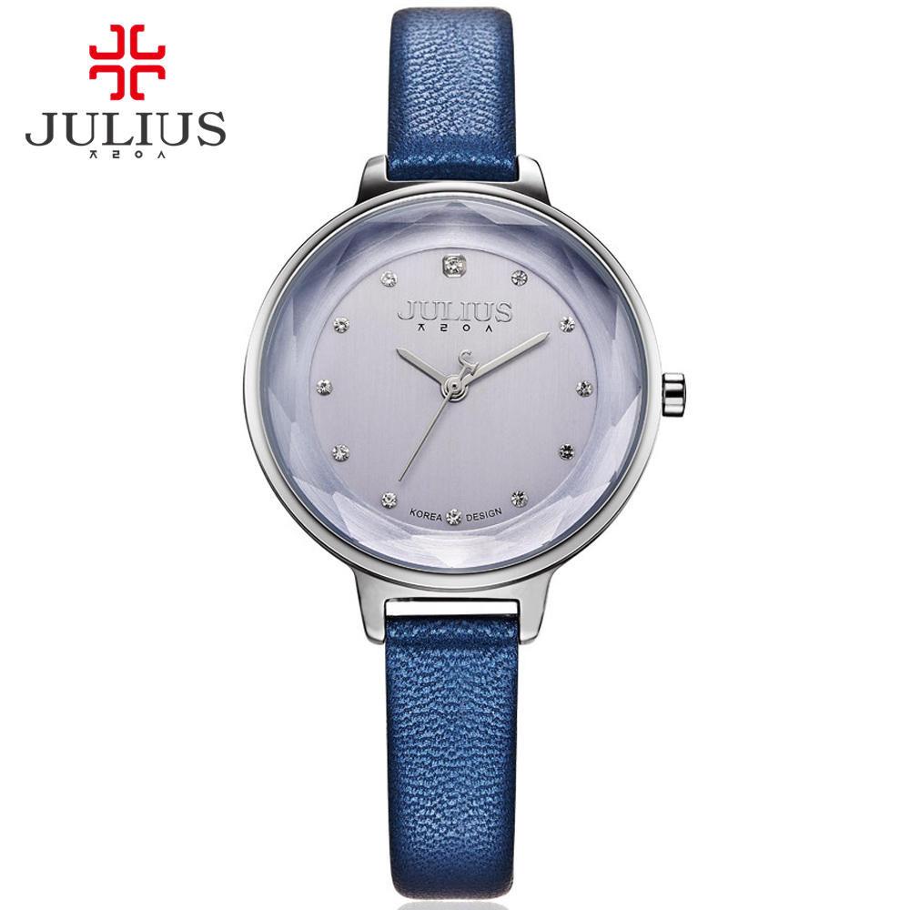 JULIUS Watches Women Fashion Watch 2017 New Elegant Dress Leather Strap Ultra Slim 8mm Japanese Quartz