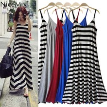 NiceMix Women Summer Beach Dress Maxi Black White Striped Casual Solid Regular Hem Backless Sexy dress