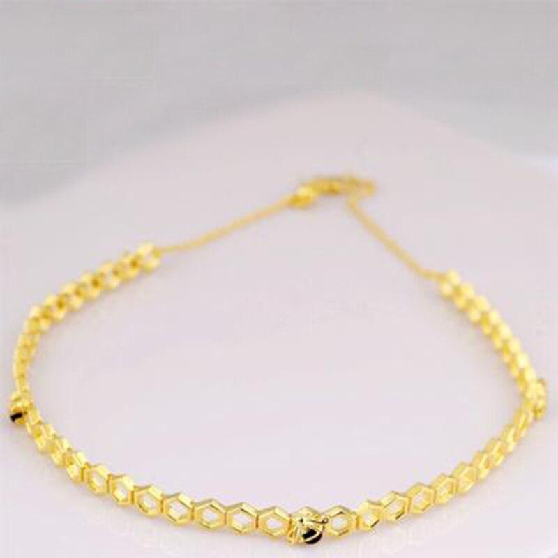 925 Sterling argent couleur or Bumble abeille nid d'abeille pendentif collier pour les femmes miel peigne pic nid forme colliers de charme
