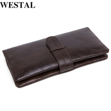 WESTAL Genuine Leather Men Wallets Leather Fashion Man Long Wallet Men's Coin Purse Male Casual Clutch Bag Hand Bag Wallet 6018