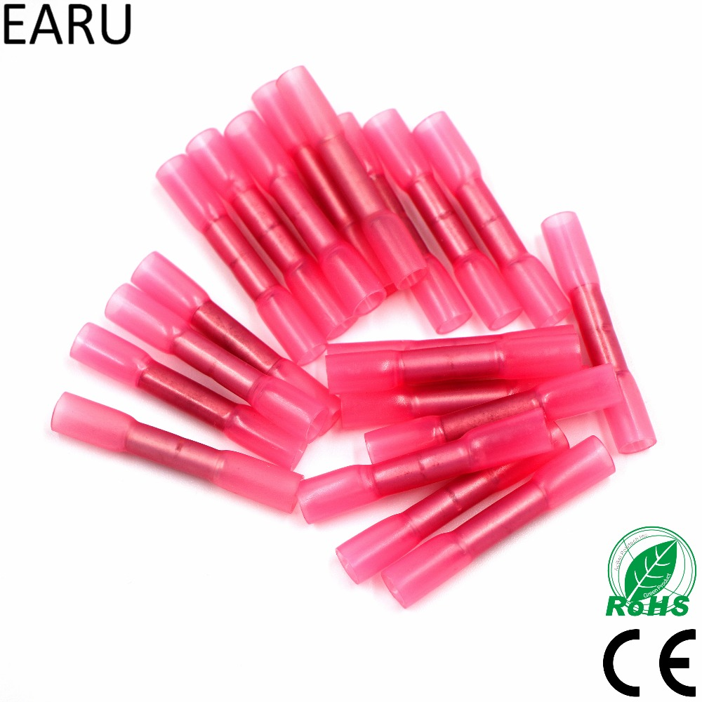50pcs Red 22-18 AWG 0.5-1.5mm Heat Shrink Butt Cable Wire Crimp Connector Electrical Terminals Quick Connect Connector BHT1.25
