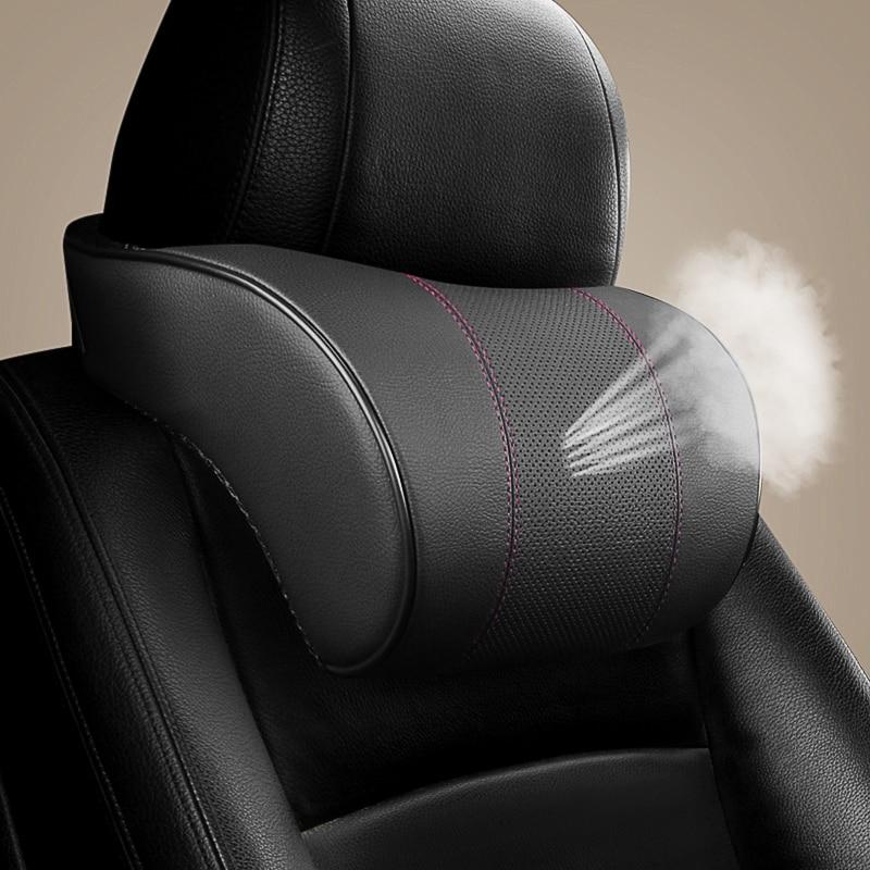 Adjustable Car Headrest Neck Pillow PU Leather Auto Neck Lumbar Protection Pillows Black Seat Waist Supports Cushion Memory Foam