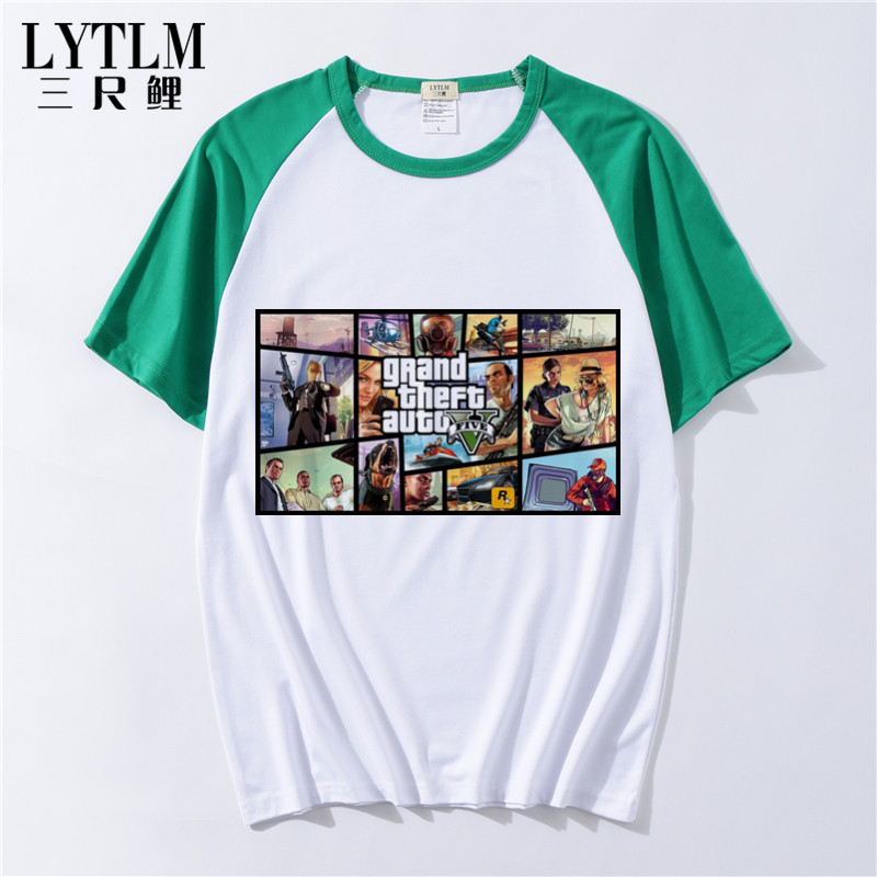 LYTLM Grand Theft Auto GTA 5 Summer Girls Tops Game Tshirt Boys Cotton Short Sleeve Tshirts T Shirt Boys Roupas Infantis Menino