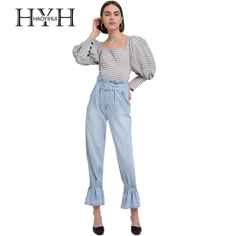 164881c218a8513 HYH HAOYIHUI повседневная женская блуза с длинным рукавом и буфами,  клетчатая женская рубашка