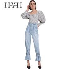 цена на HYH HAOYIHUI Casual Women Slash Neck Long Puff Sleeve Sweet Brief Blouse Plaid Square Neck Regular Button Lattice Female Shirt