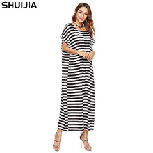 дешево!  Новое летнее черно-белое платье в горизонтальную полоску с короткими рукавами и круглым вырезом Сво�