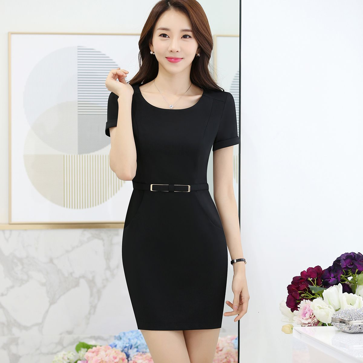 2017 New Summer Work Women dress Short Sleeve O-Neck Slim Career Long Pockets Hip Dresses Lavender Black 6639