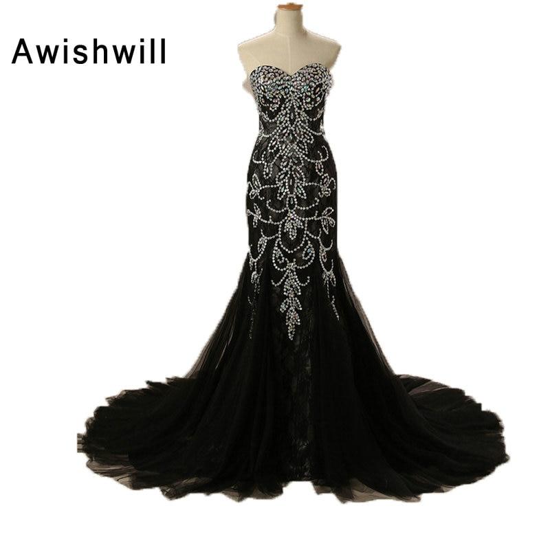 Robe De Soiree Αληθινές Φωτογραφίες Lace Tulle Κρυστάλλινες Χορδές Μαύρη Γοργόνα Ρόμπες Φόρεμα Κόμμα Επίσημο Μακρύ Βραδινό Φόρεμα 2019