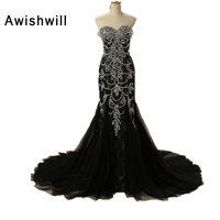 Robe De Soiree Real Photos Lace Tulle Crystal Beadings Black Color Mermaid Gowns Party Occasion Formal