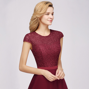 Image 4 - Charming Burgundy Lace Chiffon Long Evening Dress 2019 Elegant Short Sleeve Evening Party Dresses Formal Evening Gowns