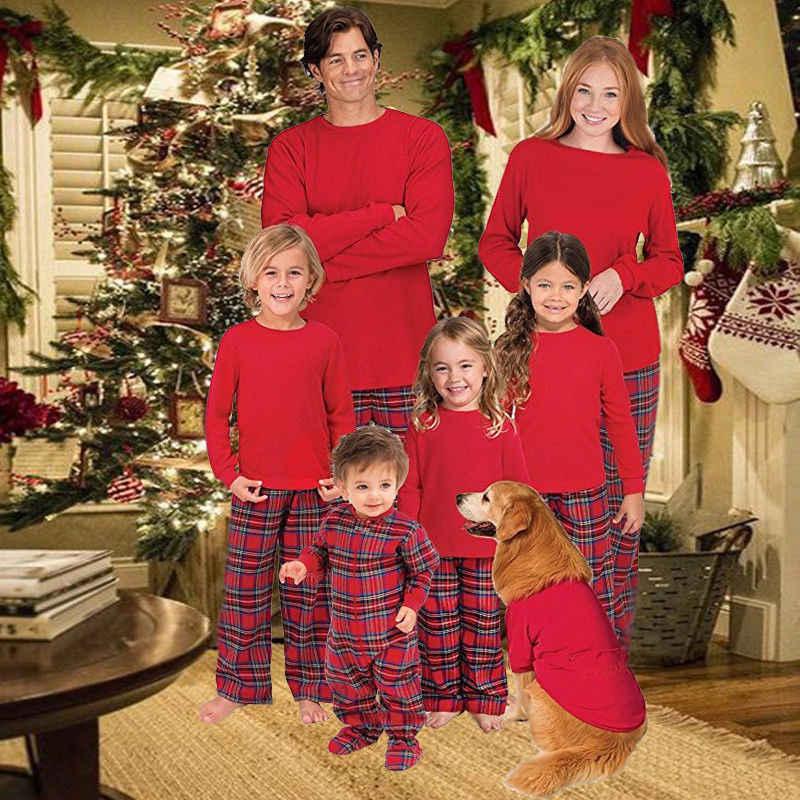 7ecde0af55 ... XMAS Family New 2017 Christmas Pajamas Set Womens MensKids Long Sleeve  Solid Tops Plaid Pants Sleepwear ...