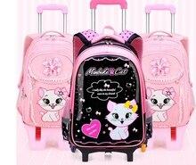 Kids School rugzak Op wielen Kinderen School Rolling rugzakken tas voor kinderen wielen rugzak tas voor Meisjes school Trolley tassen